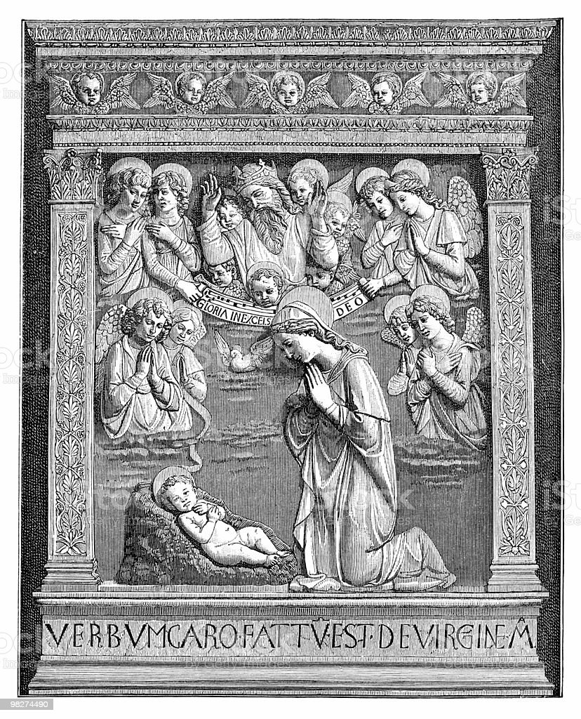 Nativity 바스 릴리프 royalty-free nativity 바스 릴리프 15세기에 대한 스톡 벡터 아트 및 기타 이미지