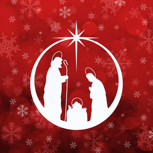 Nativity red background Nativity scene with figures in white silhouette into an abstract christmas ball, against red snowflakes background. nativity silhouette stock illustrations