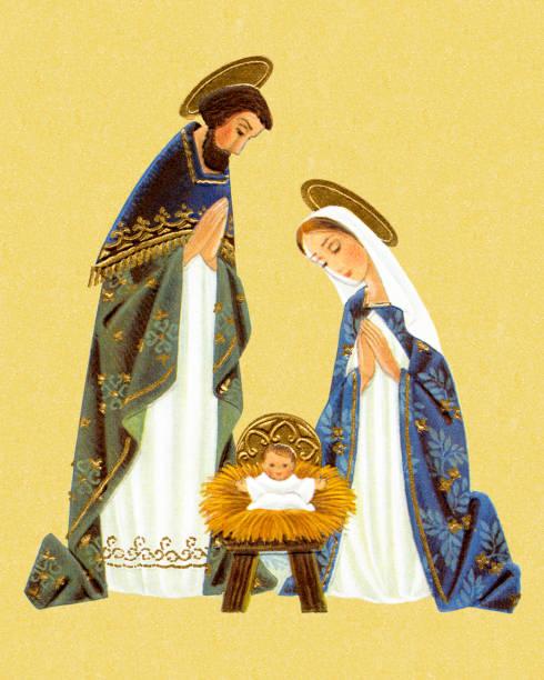 Nativity Scene Nativity Scene trough stock illustrations