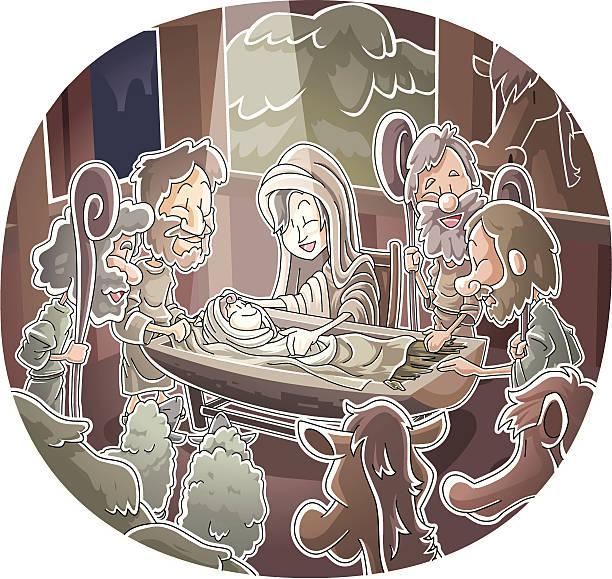 Nativity scene vector art illustration