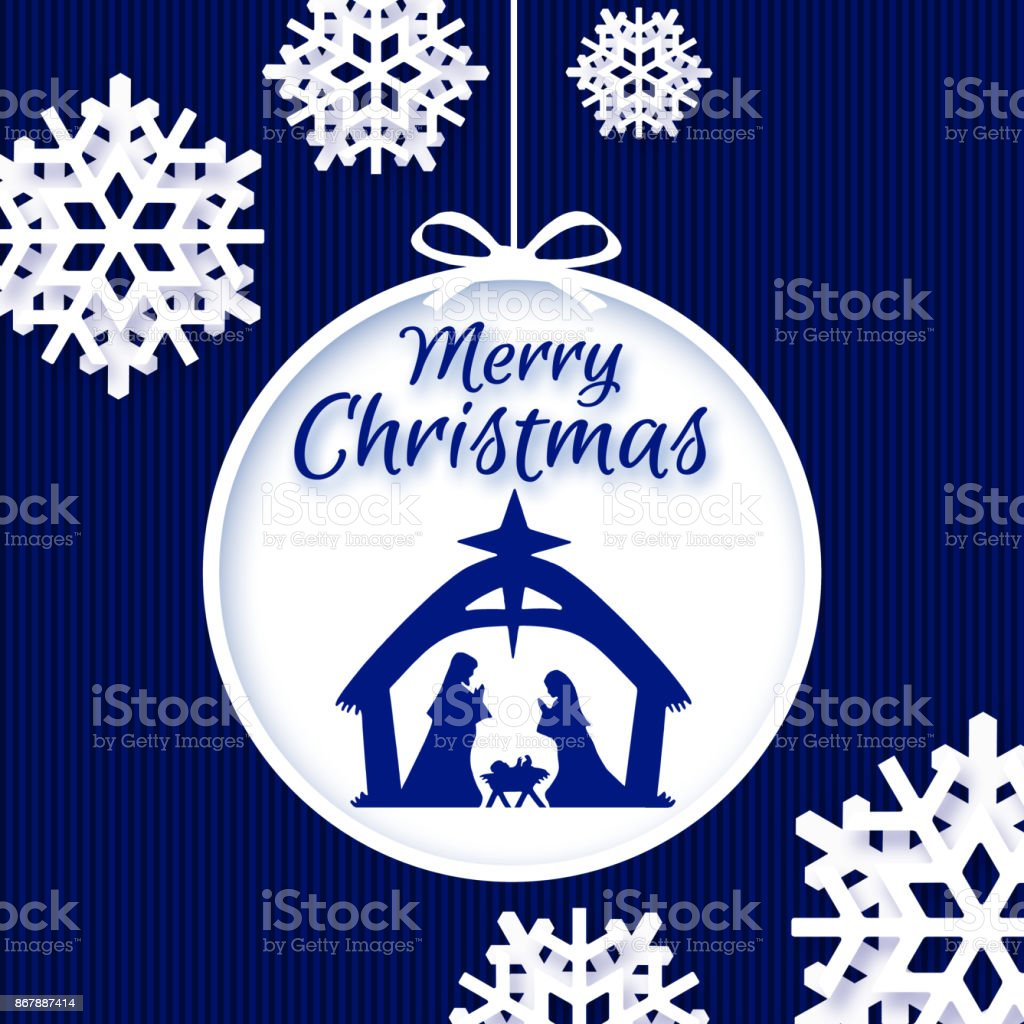 Nativity Scene Merry Christmas Blue Background Royalty Free Stock