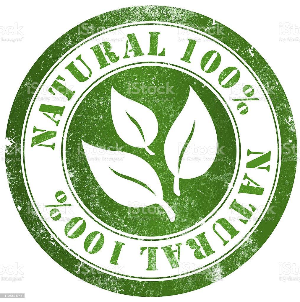 Natural 100% stamp vector art illustration