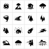 Natural disaster themed icons. All white strokes/shapes are cut from the icons and merged allowing the background to show through.