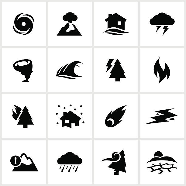 Natural Disaster Icons Natural disaster themed icons. All white strokes/shapes are cut from the icons and merged allowing the background to show through. earthquake stock illustrations