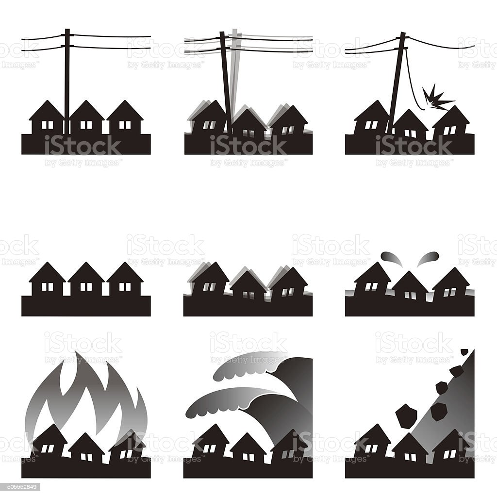 Natural disasters. Earthquake. Tsunami. Icon vector art illustration