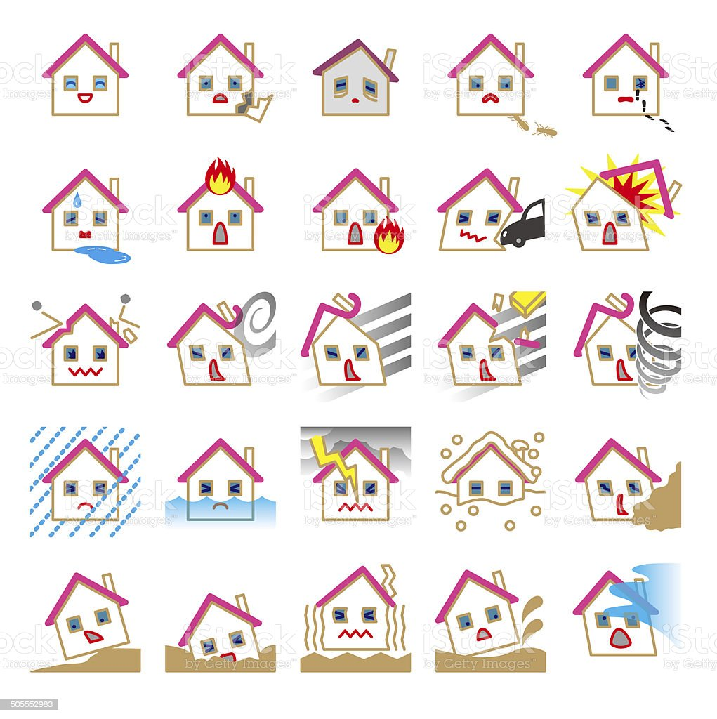 Natural disasters of housing. Accident. Fire vector art illustration