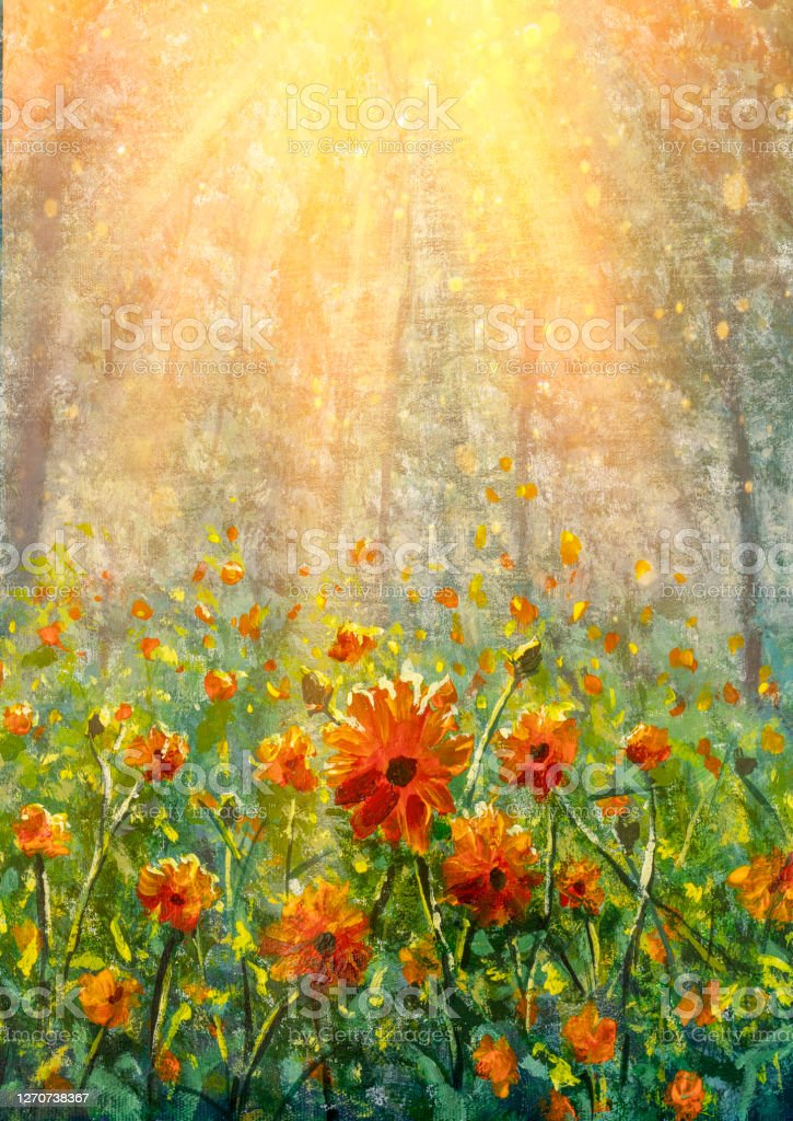 Natural Flower Oil Acrylic Hand Painting Sunlight Background Amazing View Of Colorful Red Poppy Flowering Wildflowers In Forest Stock Illustration Download Image Now Istock