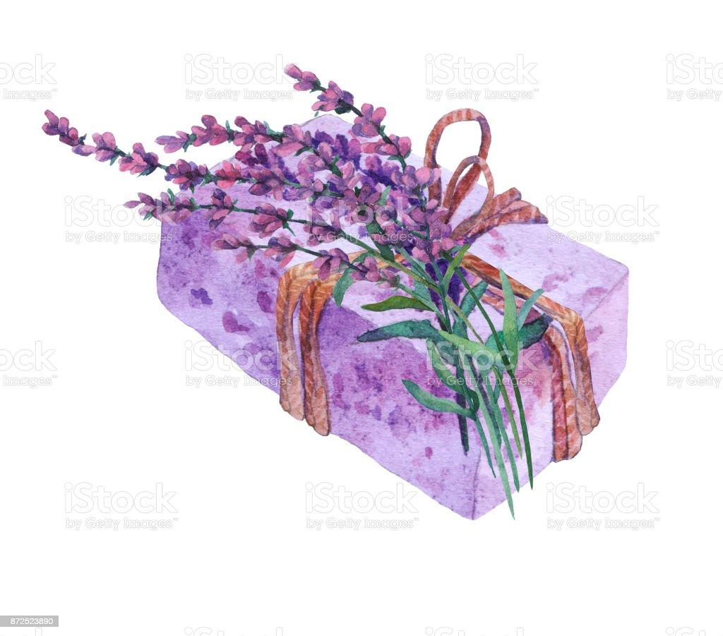 Natural handmade soap with lavender flowers. Watercolor illustration on white background. vector art illustration