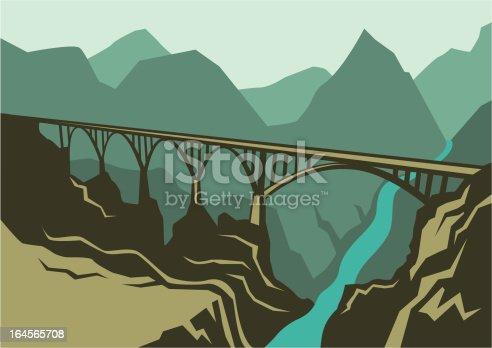 Natural landscape with bridge. Vector illustration.