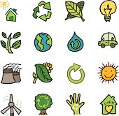 A set of environment and nature doodle icons.
