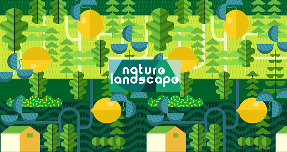 Nature and landscape. Vector art abstract illustration of village, trees, bushes, lemon, for poster, background or cover. Agriculture and garden
