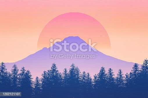 Nature and wilderness scenery background 2D illustration with sun. Sunrise or sunset feel. Mt Hood silhouette, Oregon, USA. Outdoors graphic concept.