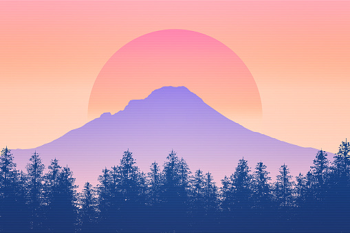 Nature and wilderness scenery background 2D illustration with sun. Sunrise or sunset feel. Mt Hood silhouette, Oregon, USA. Outdoors concept.