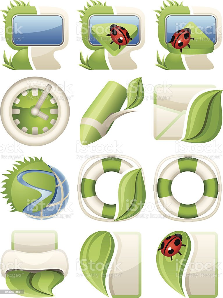 Nature green icons royalty-free stock vector art