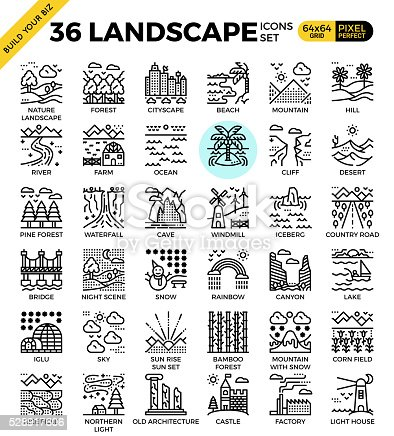Nature Landscape Pixel Perfect Outline Icons Stock Vector