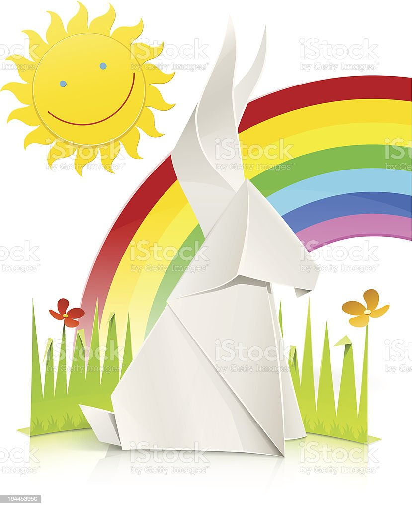 Nature Scene With Rabbit Made Of Paper Royalty Free