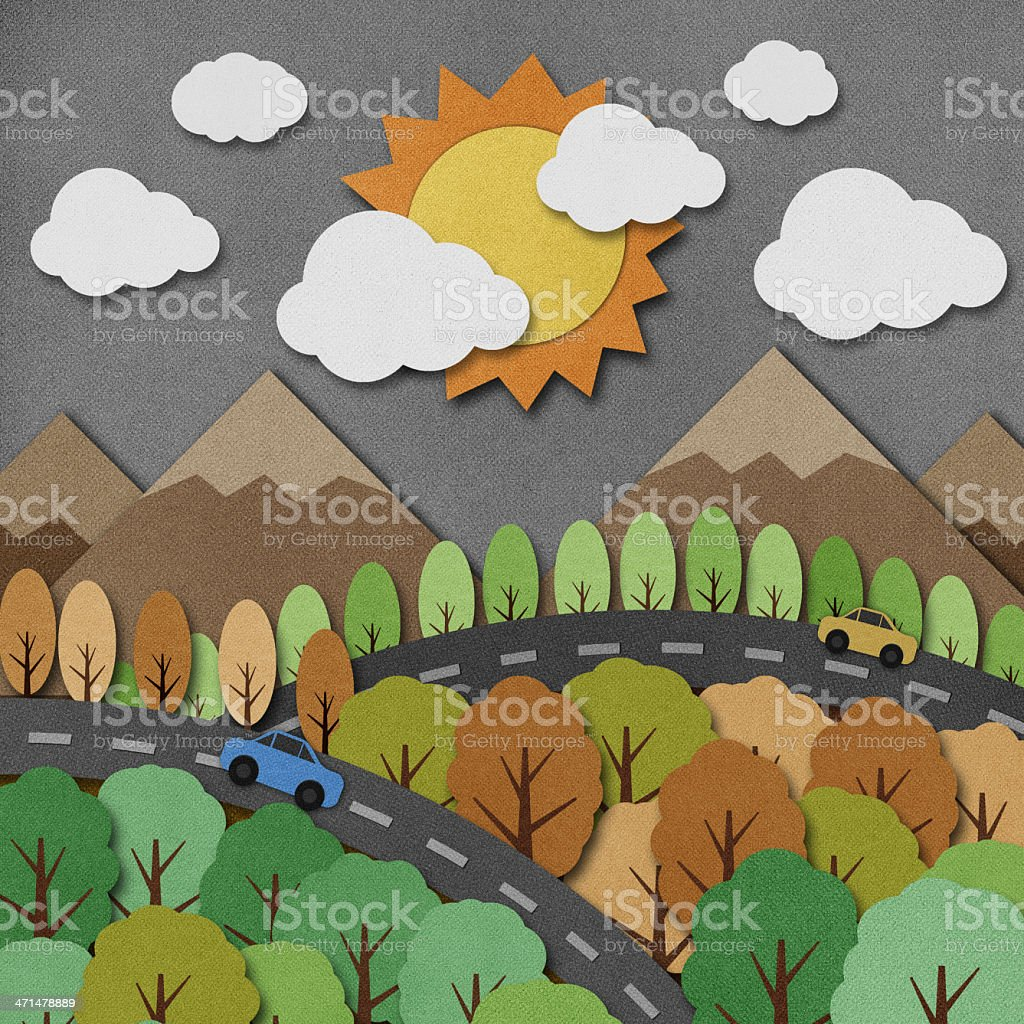 Nature view recycled paper craft Background royalty-free nature view recycled paper craft background stock illustration - download image now