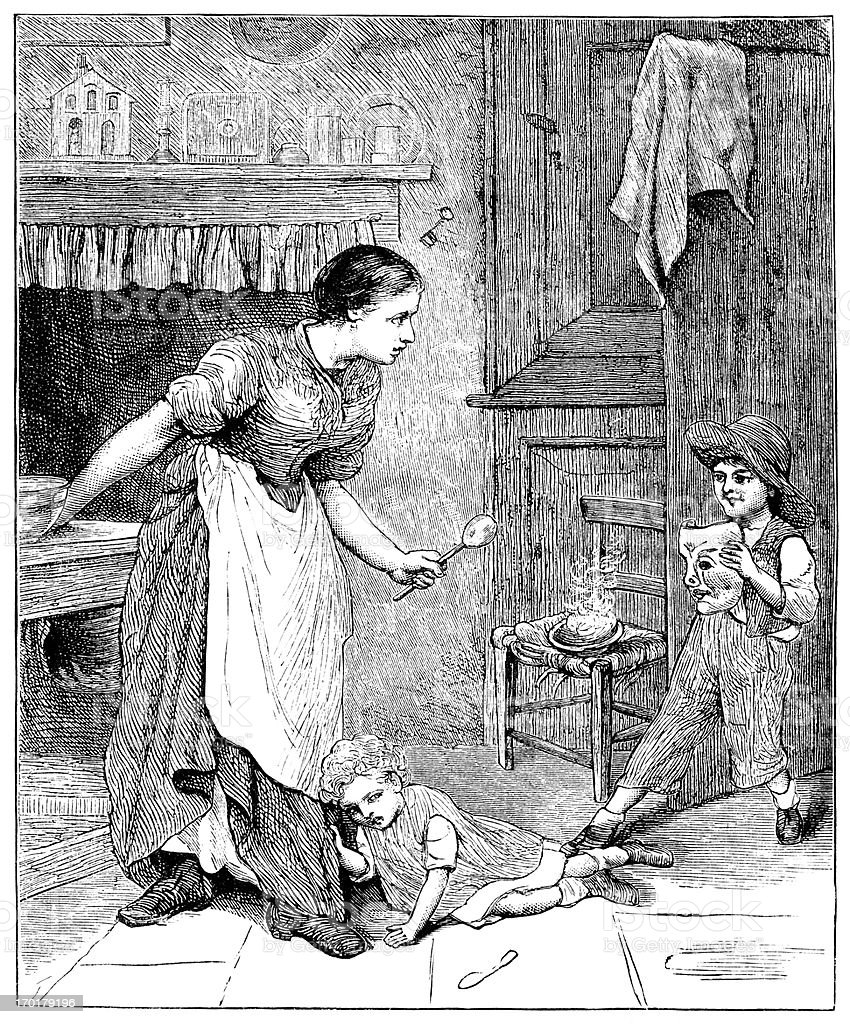 Naughty Victorian child in a kitchen royalty-free stock vector art