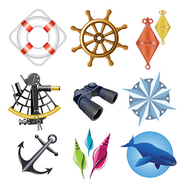 nautical elements vector art illustration