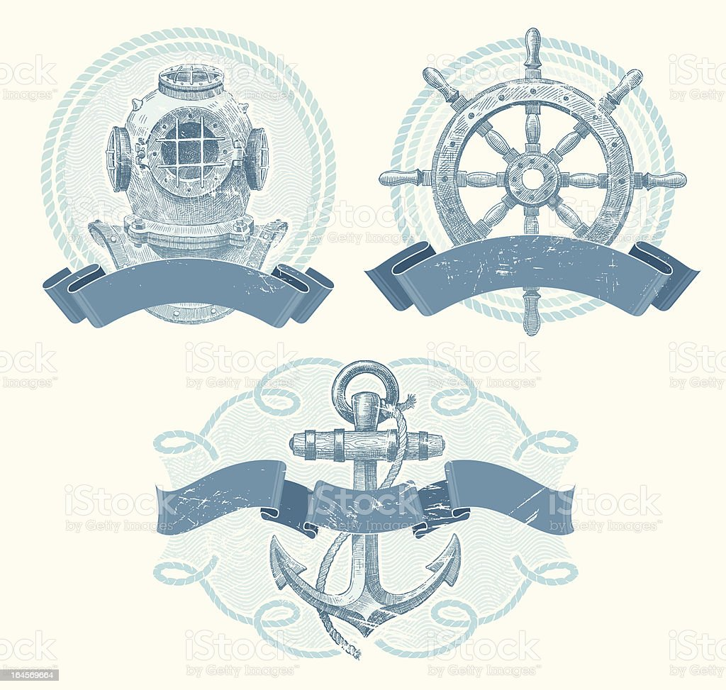 Nautical vector emblems with hand drawn elements vector art illustration