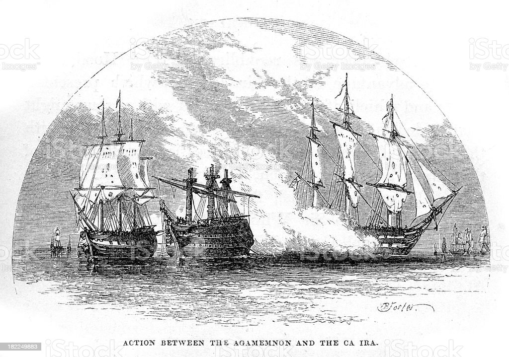 Naval Battle HMS Agamemnon vs Ca Ira royalty-free stock vector art