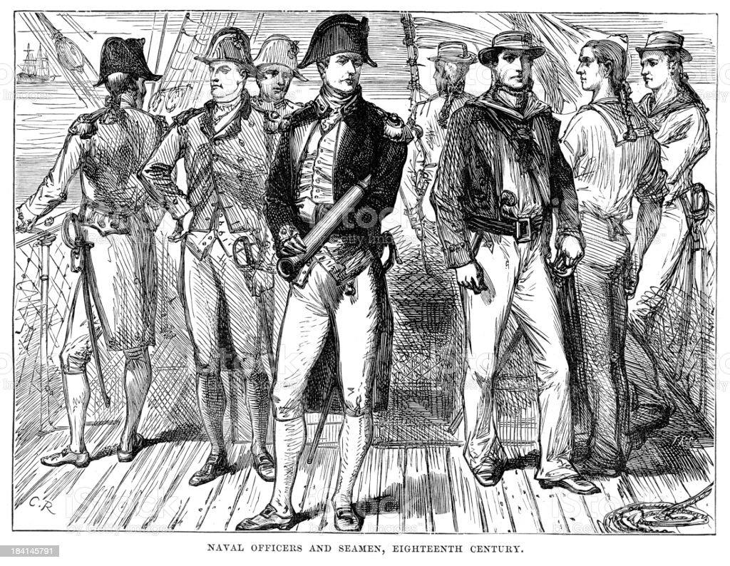 Naval Officers and Seamen vector art illustration