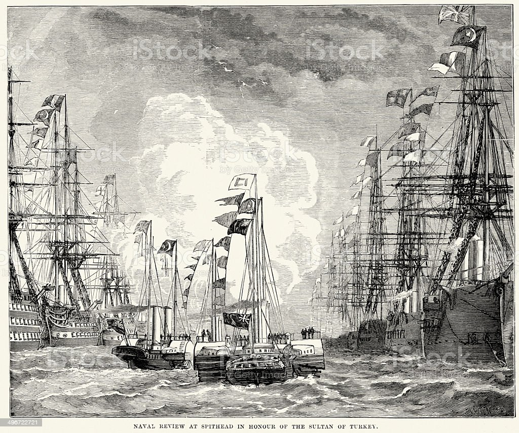 Naval review at Spithead royalty-free naval review at spithead stock vector art & more images of 19th century