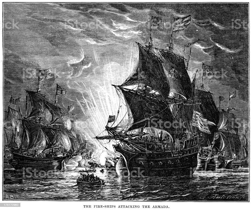 Naval Warfare - Fire Ships vector art illustration