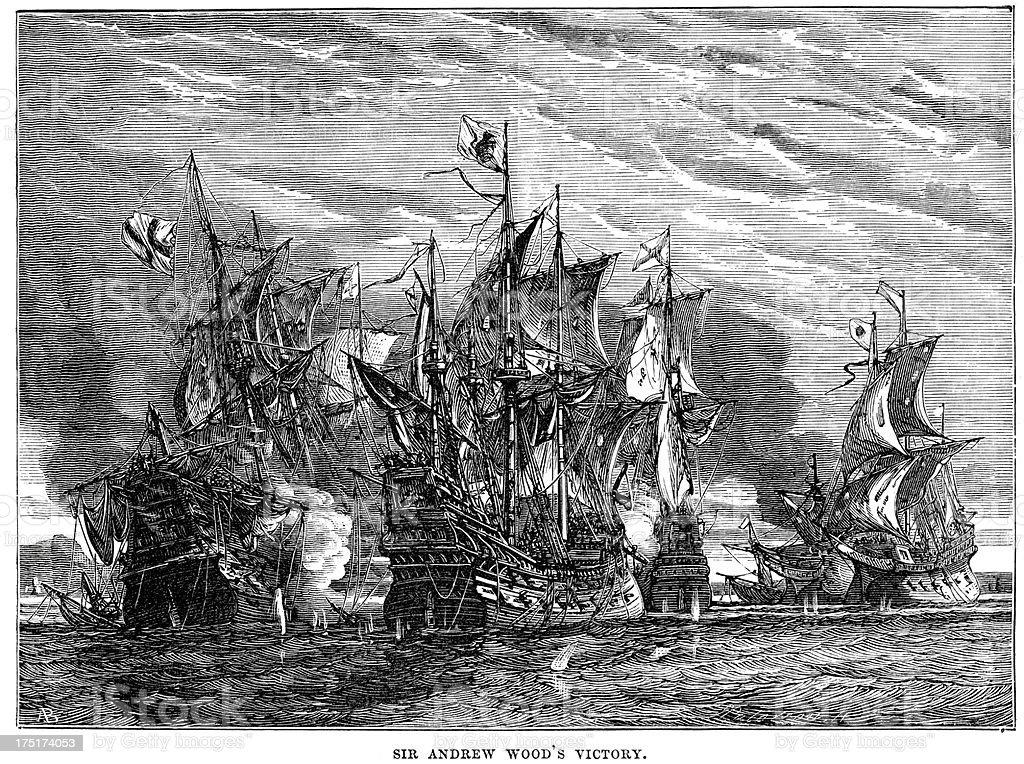 Naval Warfare - Sir Andrew Wood's Victory vector art illustration