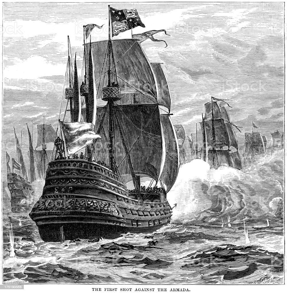 Naval Warfare - Spanish Armada vector art illustration