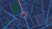 istock Navigation city map GPS Navigation, Localization night 1219005536