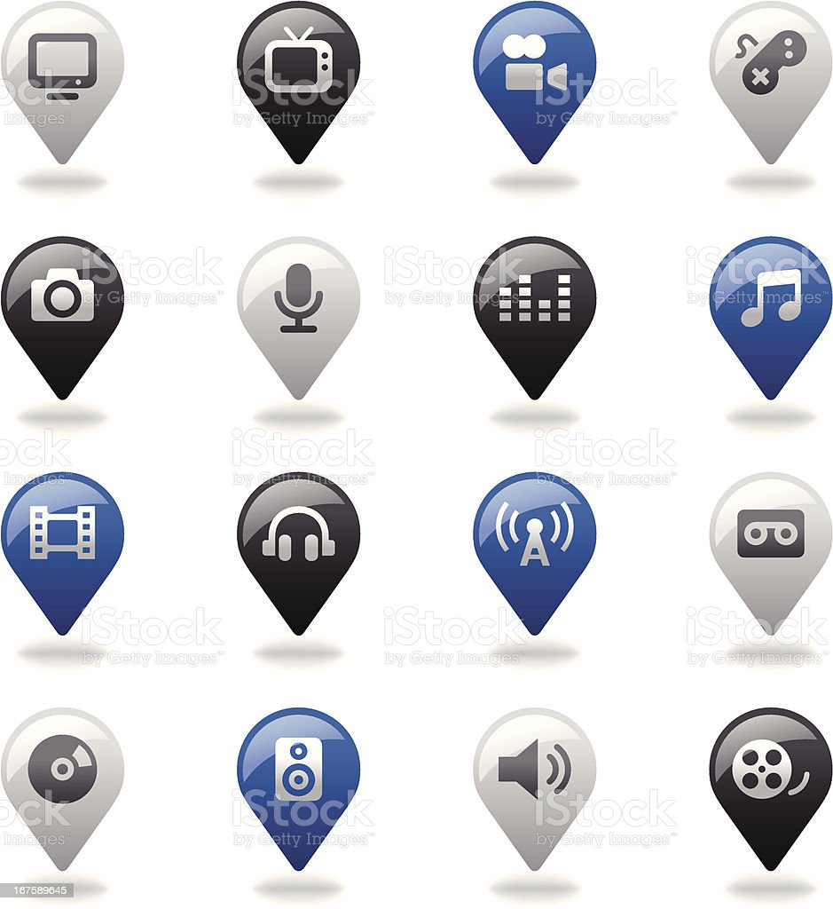 Navigation Icons Set | Multimedia royalty-free navigation icons set multimedia stock vector art & more images of arts culture and entertainment