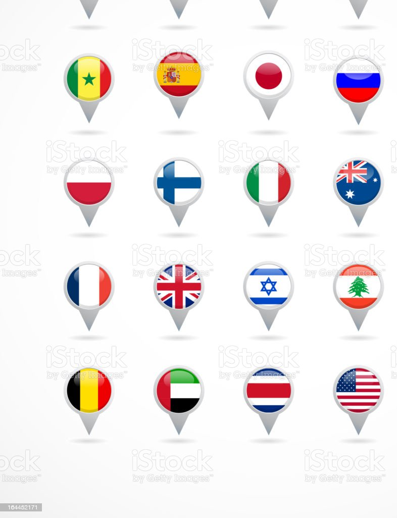 navigation pointer icons with world flags royalty-free navigation pointer icons with world flags stock vector art & more images of africa