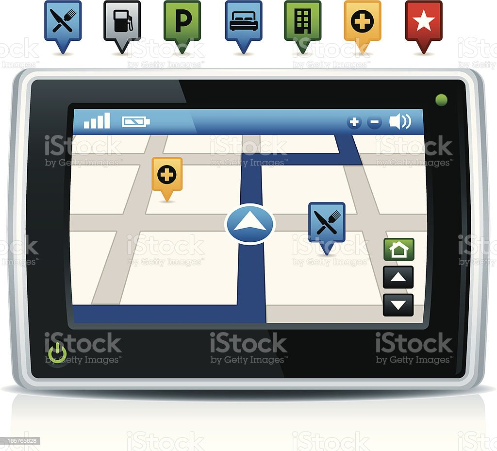 GPS Navigation System with Icons royalty-free stock vector art