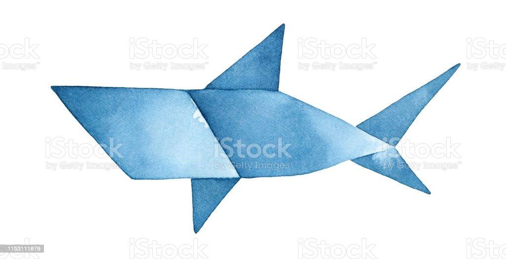 Lacivert Origami Kopekbaligi Suluboya Illustrasyon Otorite