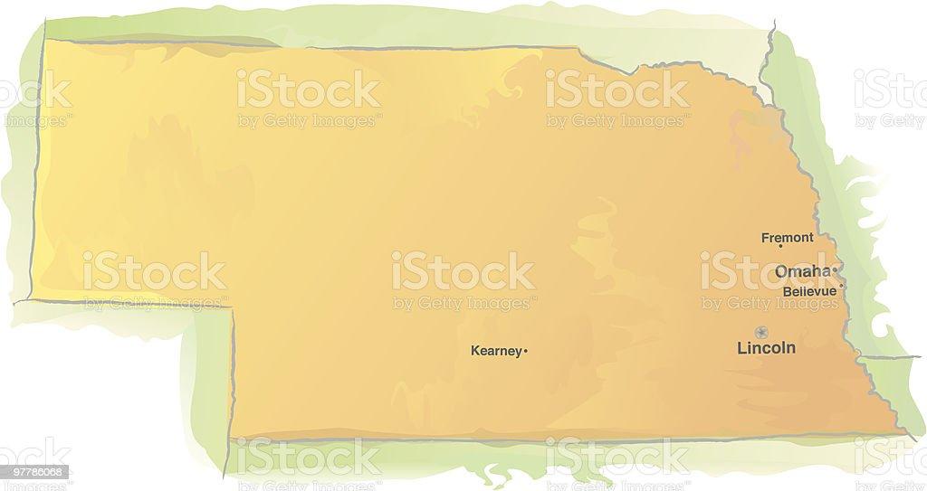 Nebraska map - Watercolor style royalty-free stock vector art