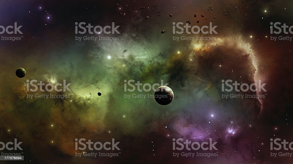 Nebula in Space vector art illustration