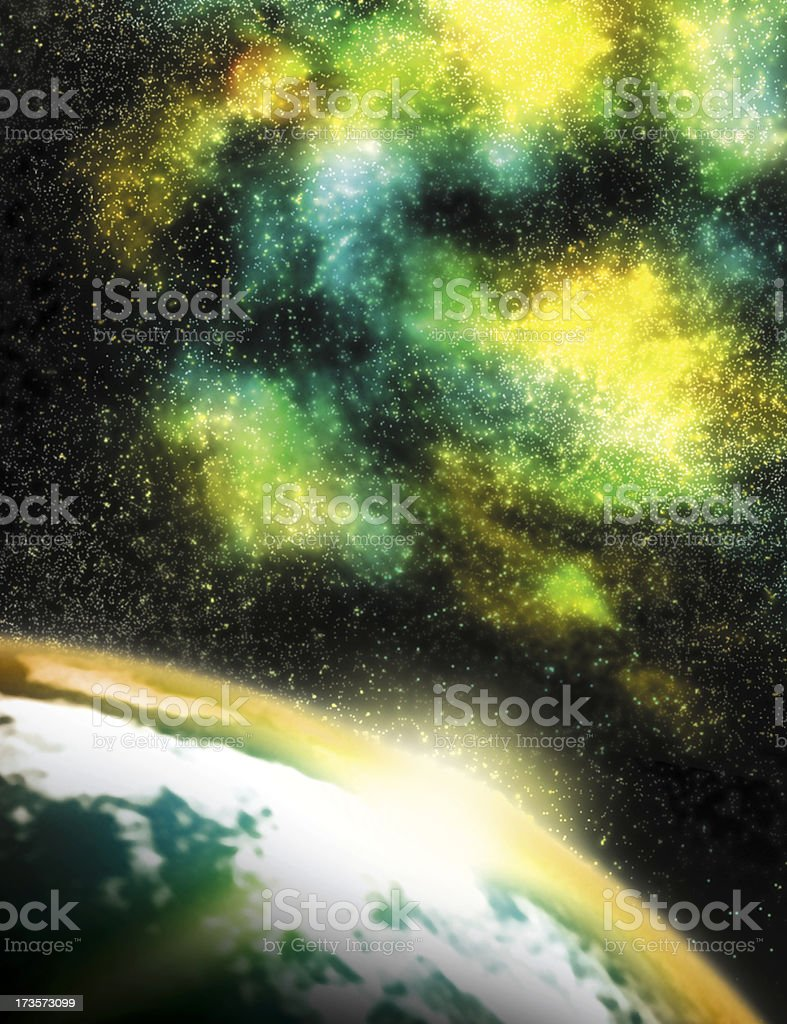 Nebulae with planet royalty-free stock vector art