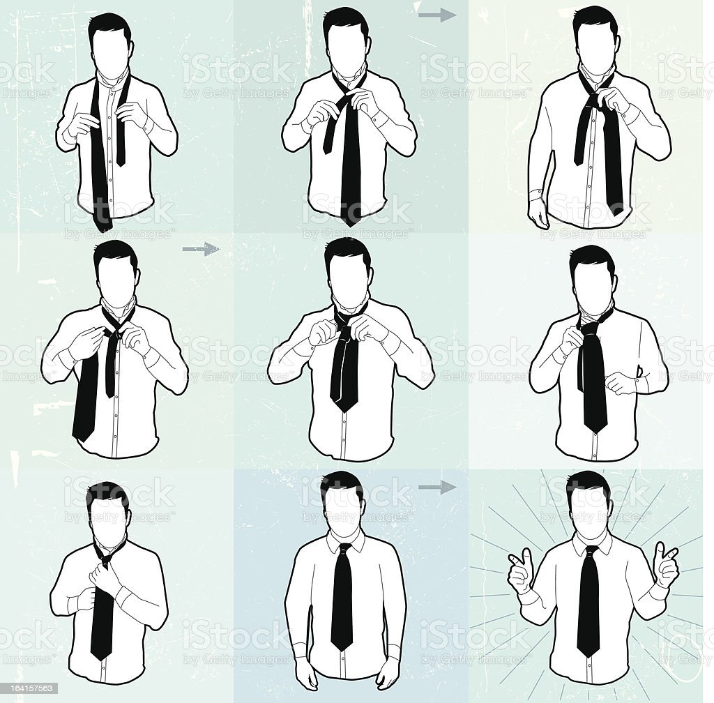 neck tie diagram stock vector art more images of body care rh istockphoto com Matrix Tie Knot how to tie a windsor knot tie diagram