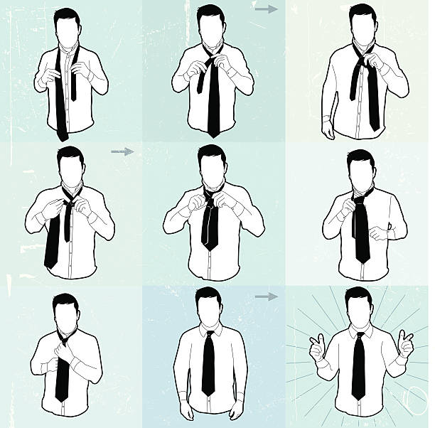 neck tie diagram - tie stock illustrations, clip art, cartoons, & icons
