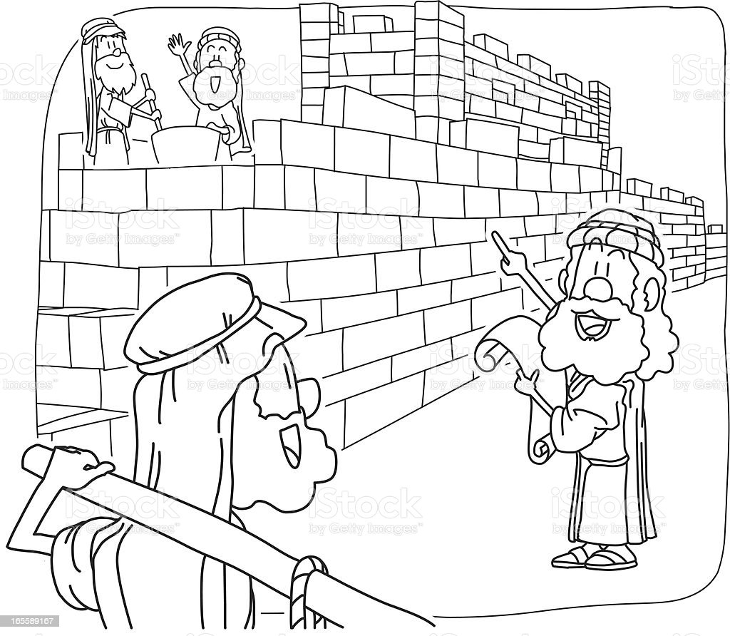 Nehemiah rebuilt the Jerusalem's Walls - for coloring royalty-free nehemiah rebuilt the jerusalems walls for coloring stock vector art & more images of bible