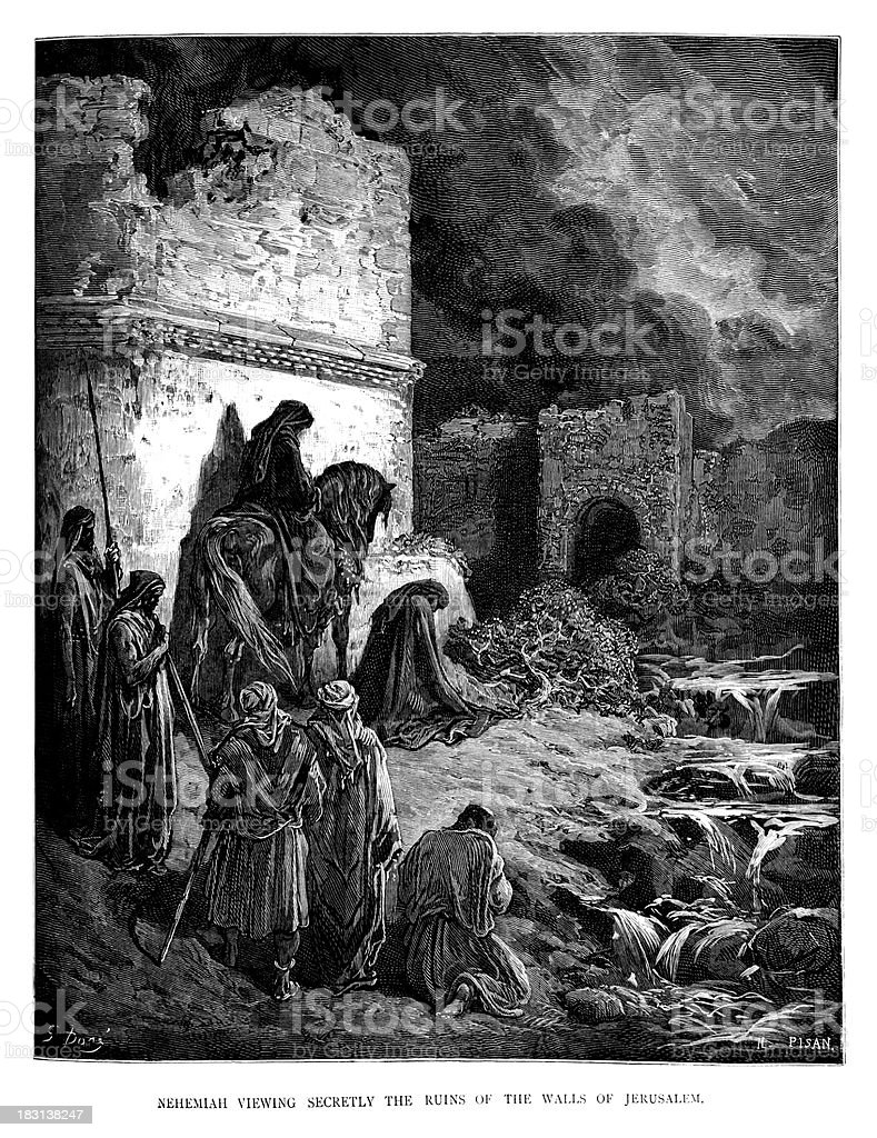 Nehemiah viewing the ruins vector art illustration