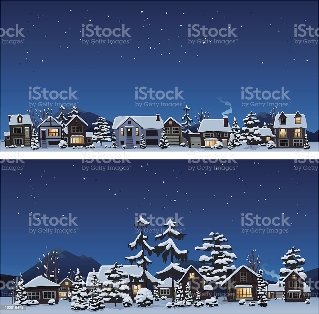 Neighbors scenery in winter vector art illustration