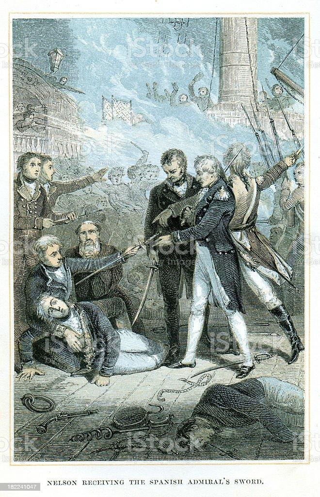 Nelson receiving the spanish admiral's sword vector art illustration