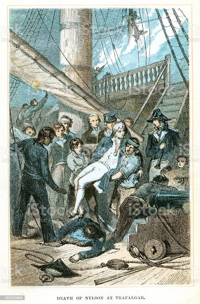 Nelson's Detah at the Battle of Trafalgar vector art illustration