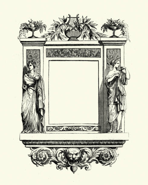 Neo Classical Frame Vintage engraving of a Neo Classical Frame neo classical stock illustrations