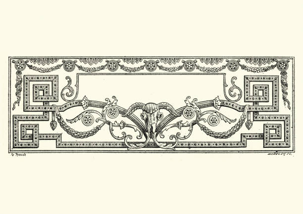 Neo classical ram skull design element title border frame Vintage engraving a Neo classical design element title border frame neo classical stock illustrations
