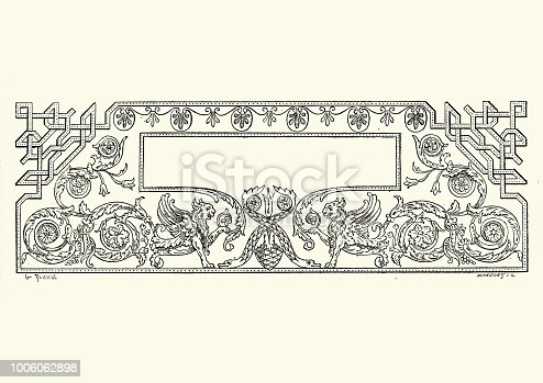 Vintage engraving of a Neo classical title banner design element