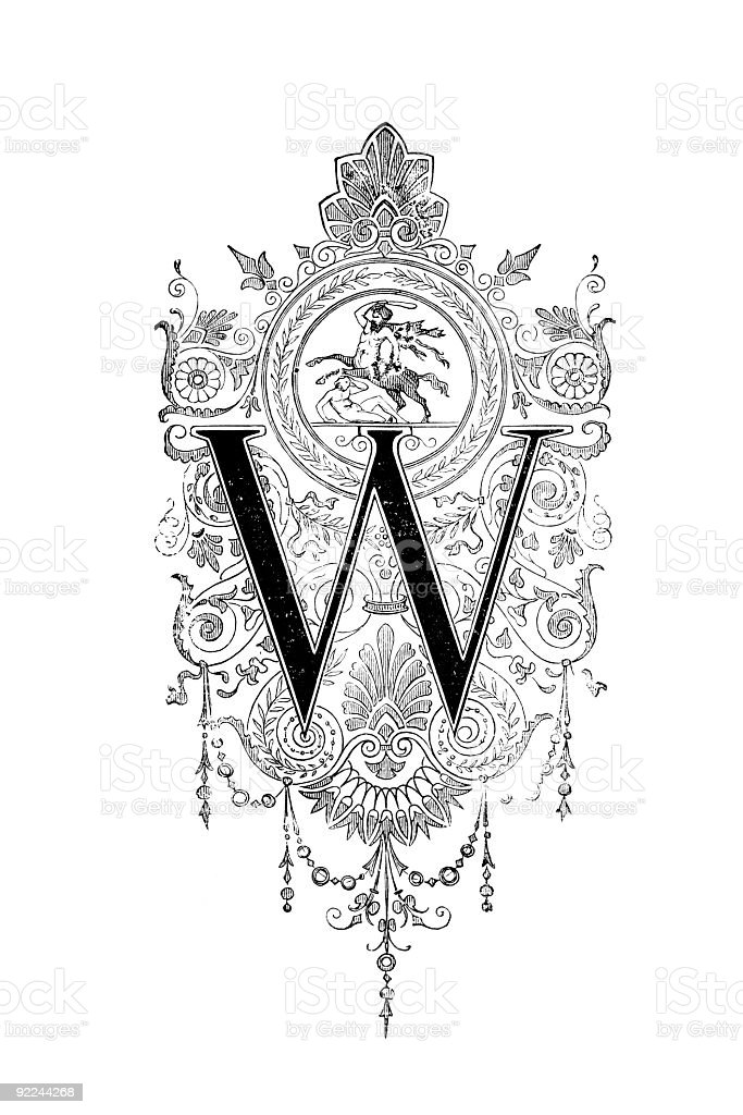 Neoclassical Romanesque design depicting the letter W royalty-free stock vector art