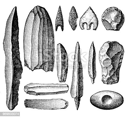 Illustration of a Neolithic tools and weapons